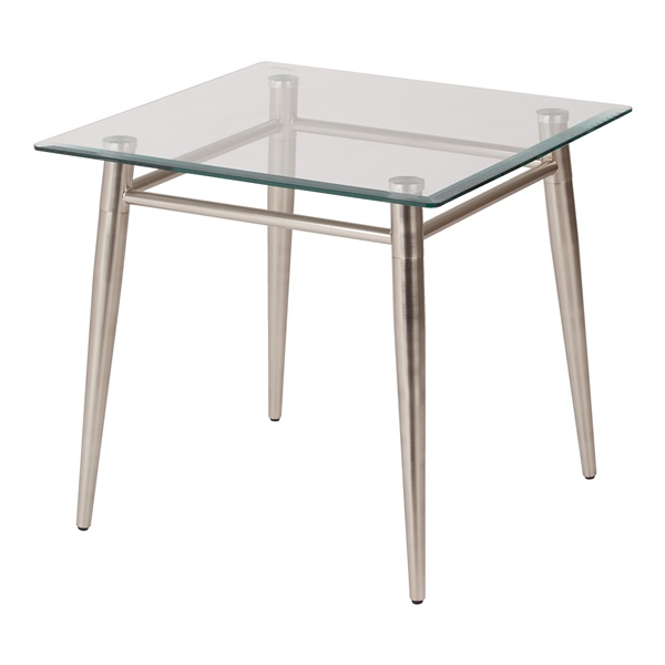 Brooklyn Clear Tempered Glass Square Top End Table with Nickel Brushed Legs