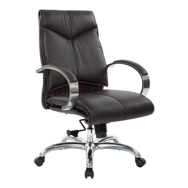 Deluxe Mid Back Executive Leather Chair with Chrome Finish Base