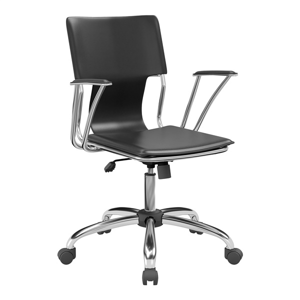 Dorado Office Chair with Fixed Padded Arms and Chrome Finish (Black)