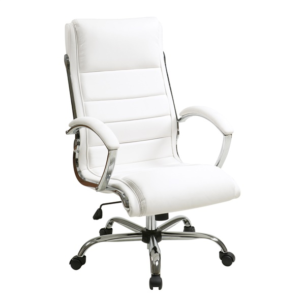 Executive Chair with Thick Padded Faux Leather Seat and Back (White)