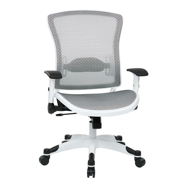 White Frame Manager's Chair with Padded Mesh Seat and Back