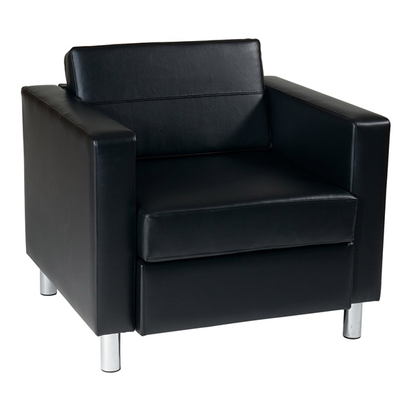 Pacific Easy-Care Faux Leather Armchair (Black)