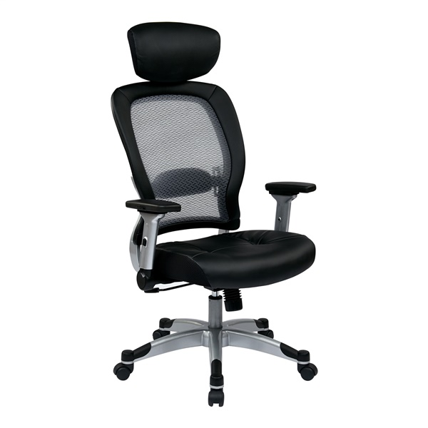 Professional Light AirGrid Back and Bonded Leather Seat Chair with Headrest
