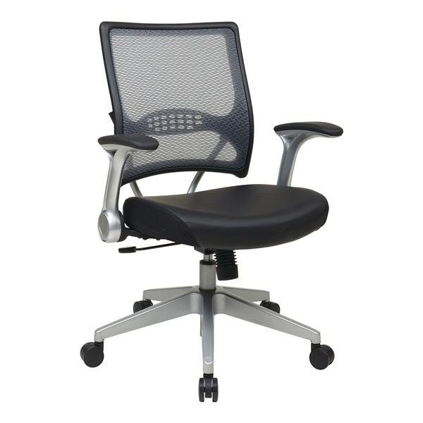 Professional Light AirGrid Back and Black Bonded Leather Seat Manager's Chair
