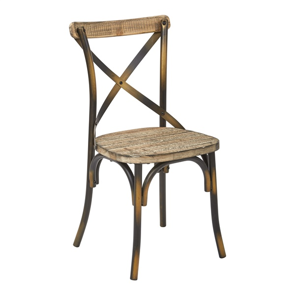 Somerset X-Back Metal Chair (Antique Black/Rustic Walnut)