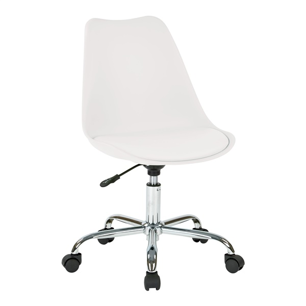 Emerson Student Office Chair with Pneumatic Chrome Base (White)