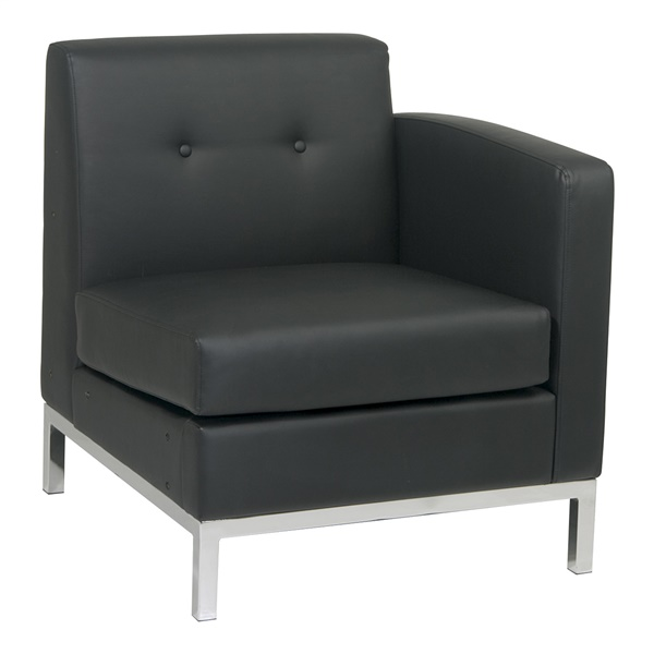 Wall Street Right Arm Facing Chair (Black)