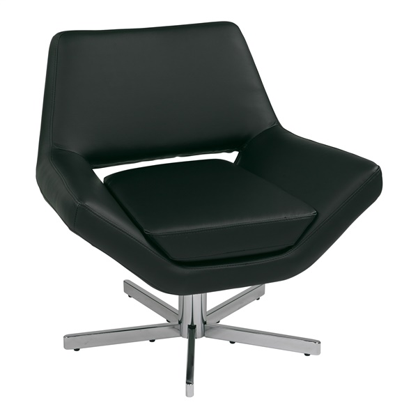 """Yield 31"""" Modern Faux Leather Lounge Chair (Black)"""