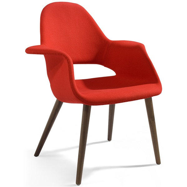 Organic Chair (Natural American Walnut / Red Fabric)