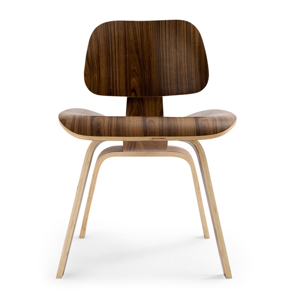 Plywood Dining Chair with Wood Legs (Natural American Walnut)