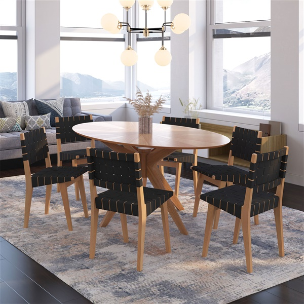 Risom Side Chair (Natural American Maple / Black Straps)