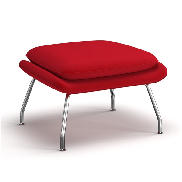 Saarinen Womb Ottoman (Stainless Steel / Vermillion Red)