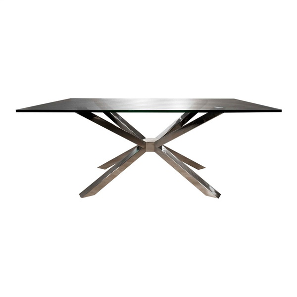 Ritz Mantis Rectangle Dining Table (Crackled Smoke Glass)