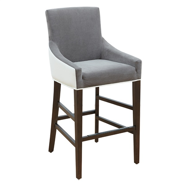 Vincent Counter Stool (Ivory Leather/Portsmouth Gray Fabric)