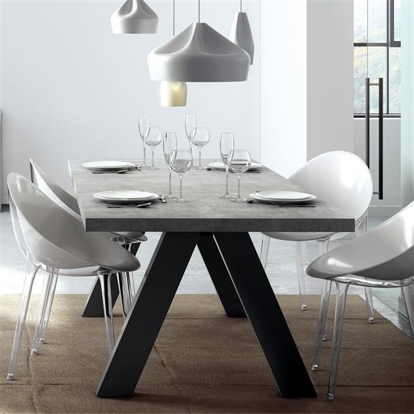 Apex Dining Table - Faux Concrete/Pure Black