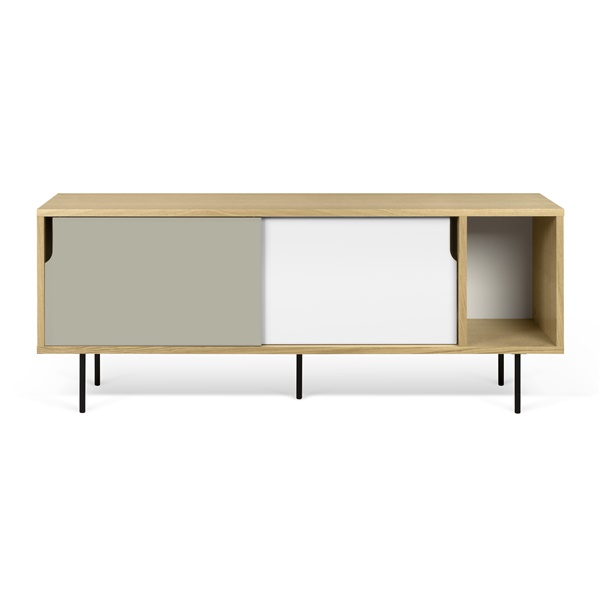 Dann Sideboard with Black Lacquered Steel Leg - Oak/Pure White