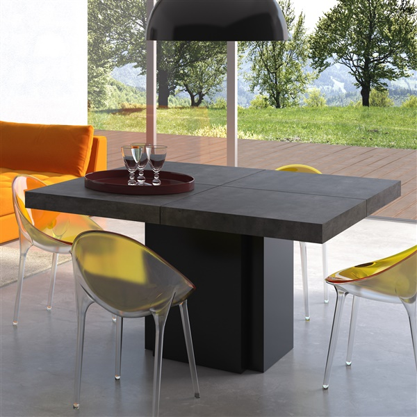 "Dusk 59"" Dining Table (Concrete/Pure Black)"