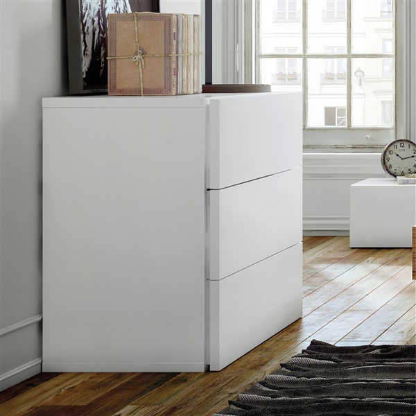 Float Chest of 3 Drawers (Pure White)