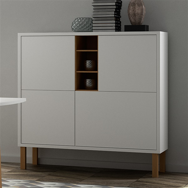 Niche Cupboard with Oak Legs (Pure White/Oak Legs)