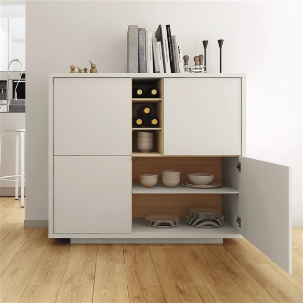 Niche Cupboard (Pure White/Oak)