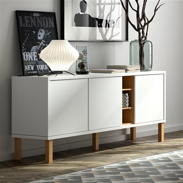 Niche Sideboard with Oak Legs (Pure White/Oak Legs)