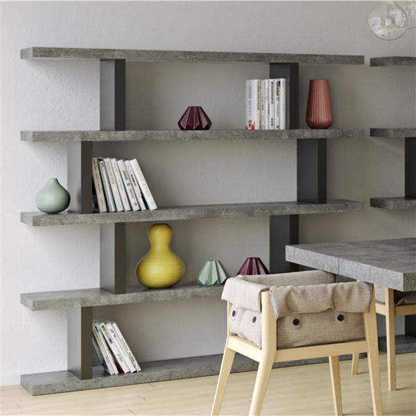 Step High Bookcase (Concrete/Pure Black)