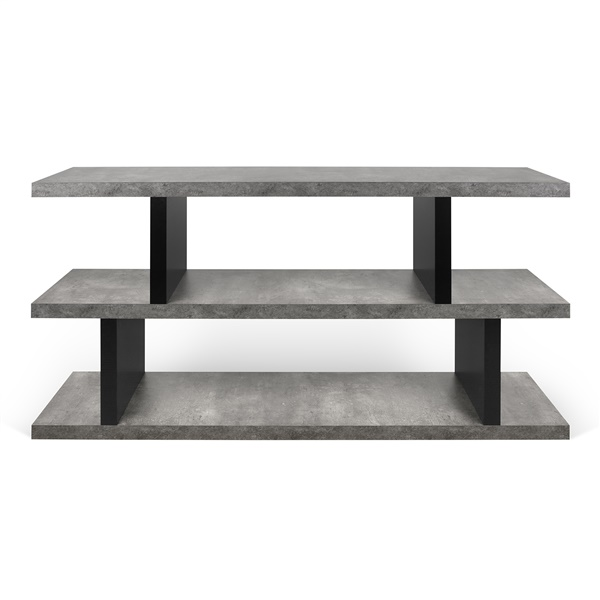 Step Low Bookcase (Concrete/Pure Black)