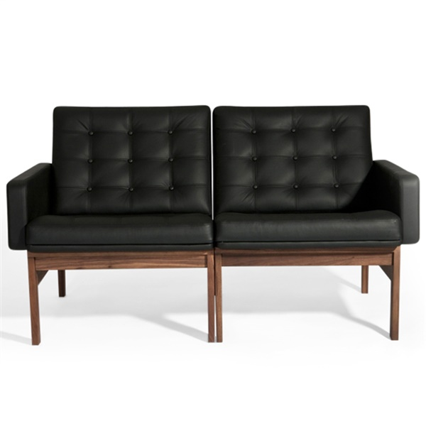 Torben Lind Loveseat (American Walnut / Black Leather)