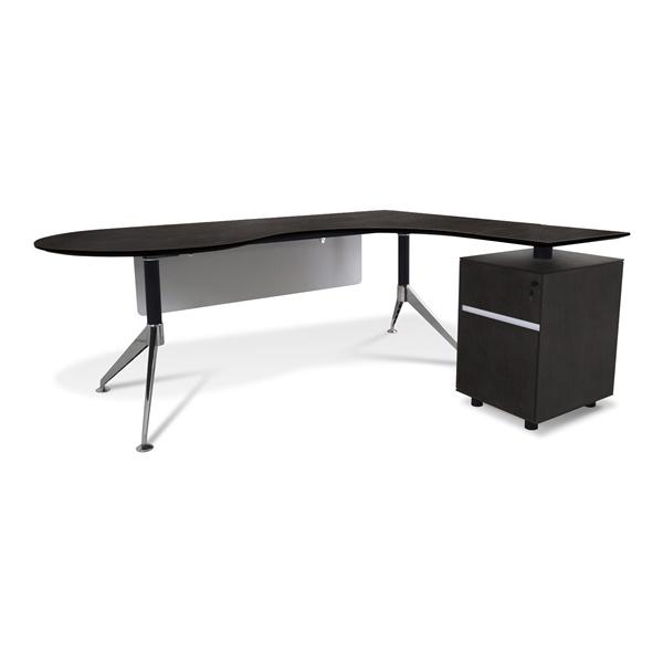 300 Series Executive Teardrop Desk with Return Pedestal (Espresso / Right Shape)
