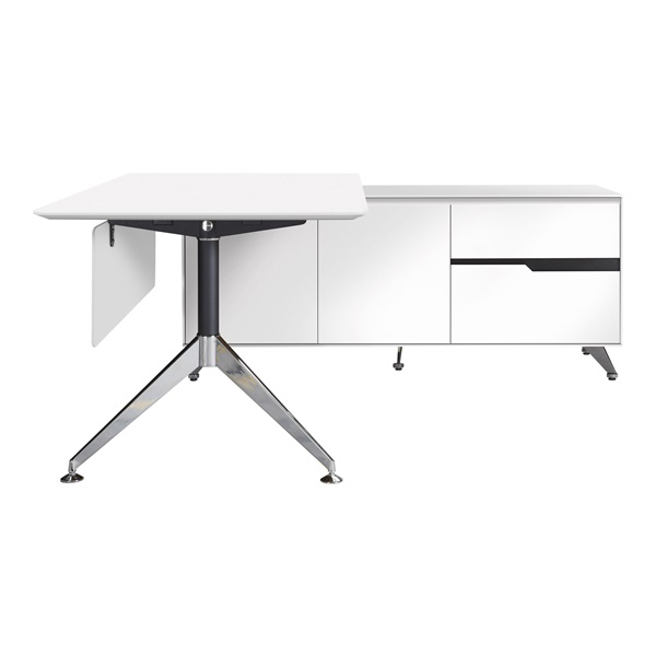 400 Series Executive Desk with Return Cabinet (White / Right Shape)