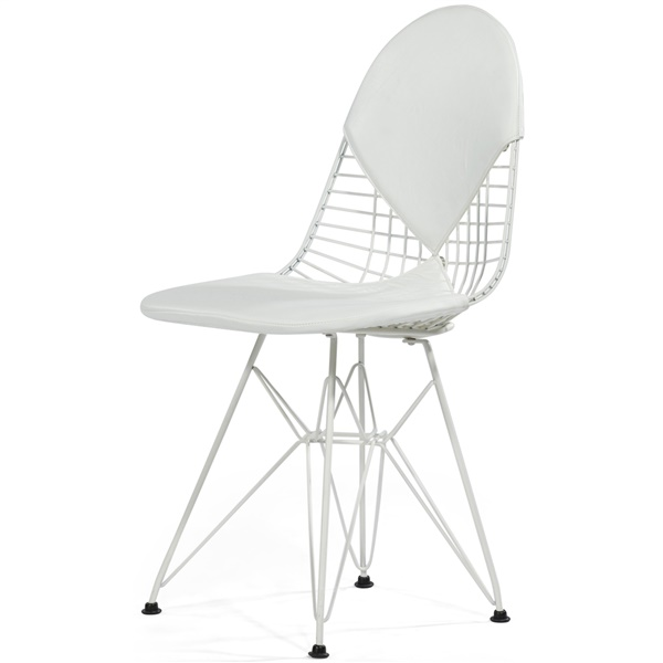 Upholstered Wire Chair (White Powder Coated Steel / White Leather)