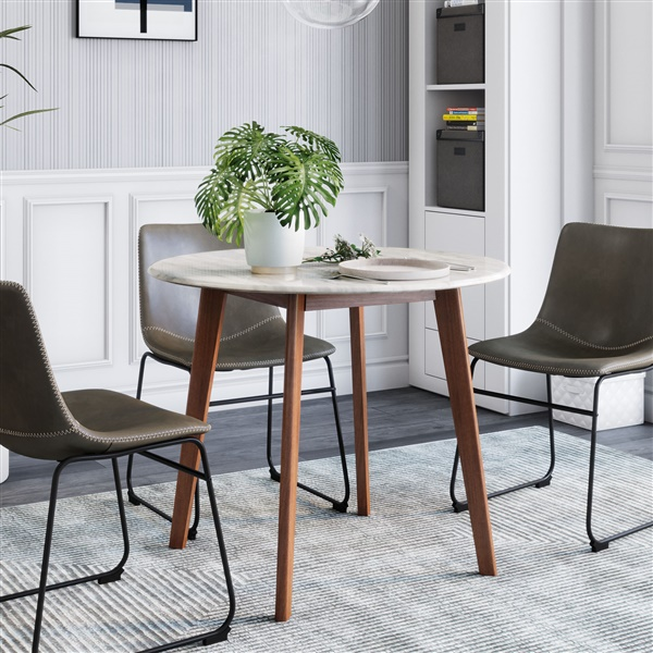 Verner Dining Table (Faux Marble / Walnut)