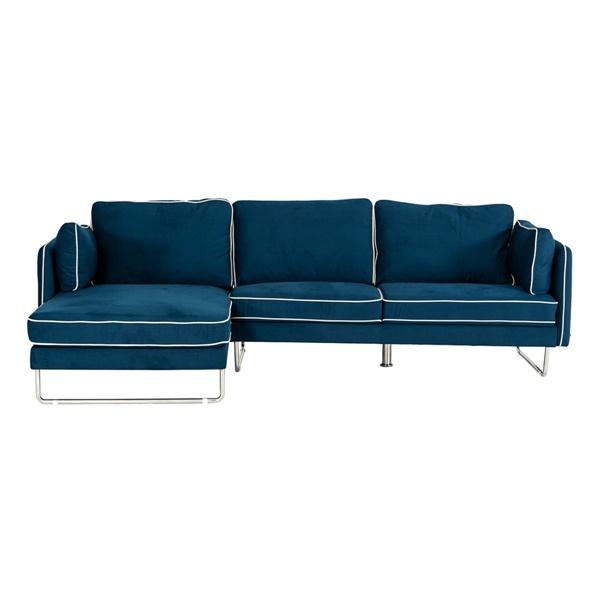 Divani Casa Anchusa Modern Blue Fabric Sectional Sofa