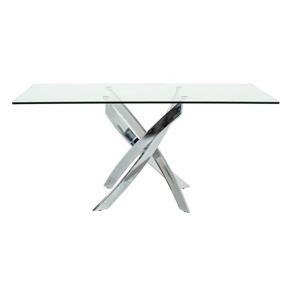 Modrest Pyrite Modern Rectangular Glass Dining Table