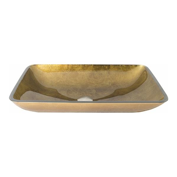 Rectangular Glass Vessel Bathroom Sink - Copper