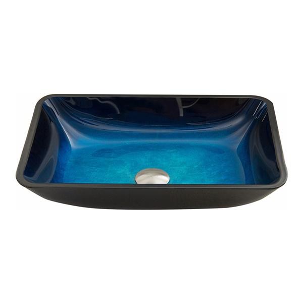 Rectangular Glass Vessel Bathroom Sink - Turquoise