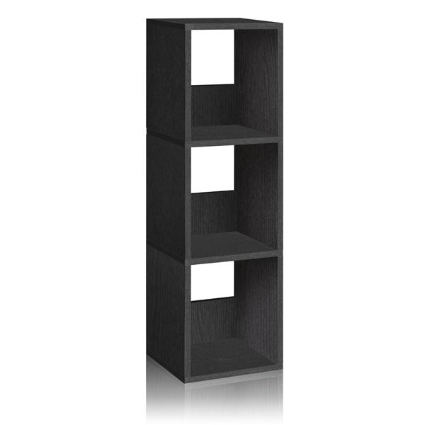 Way Basics Eco Friendly 3-Shelf Trio Narrow Bookcase and Storage Shelf (Black)