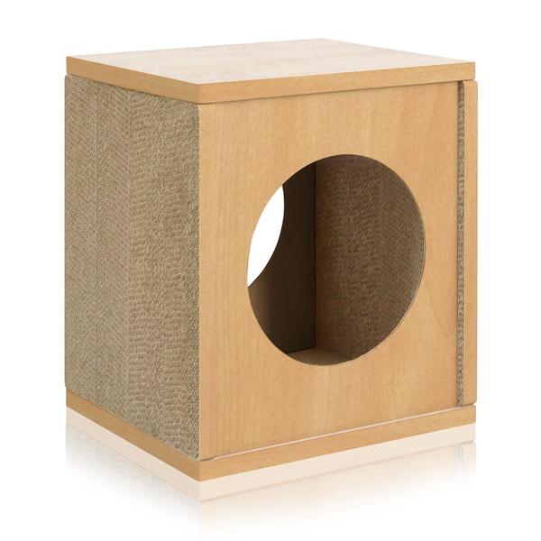 Way Basics Eco Friendly Cat Scratcher Cube House (Black)