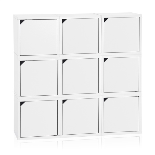 Way Basics Eco Friendly Stackable Connect 9-Cube Storage with Doors (Espresso)