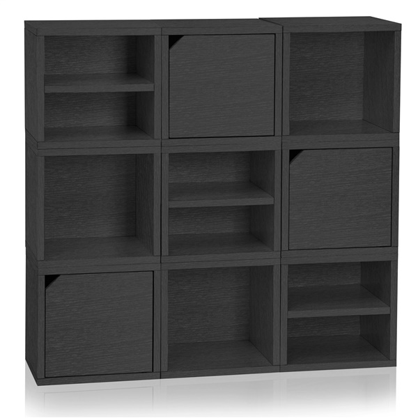 Way Basics Eco Friendly Stackable Connect 9-Cube Storage (Black)