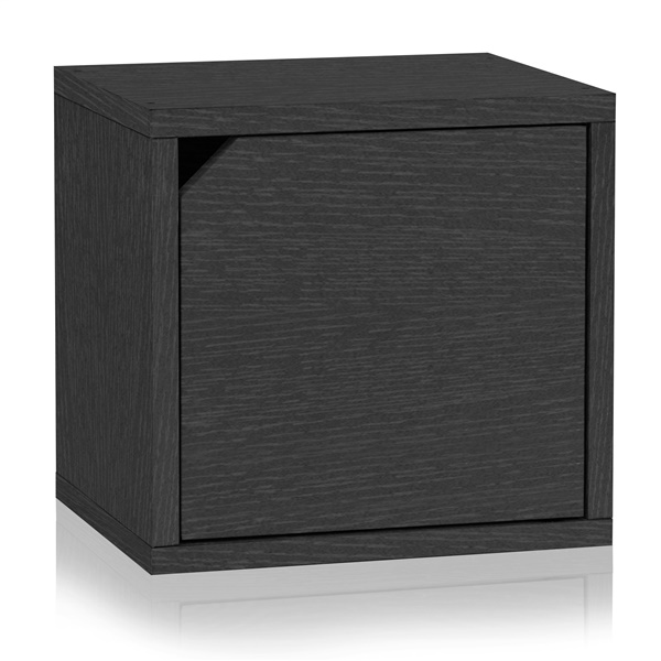 Way Basics Eco Friendly Stackable Connect Storage Cube with Door (Black)