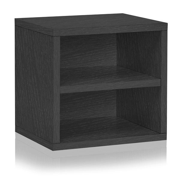Way Basics Eco Friendly Stackable Connect Storage Cube with Shelf (Black)