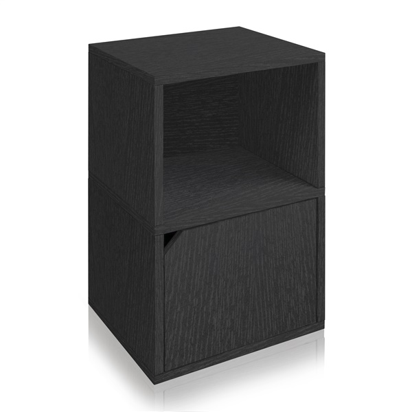 Way Basics Eco Friendly Under Desk Shelf Bookcase with Door (Black)