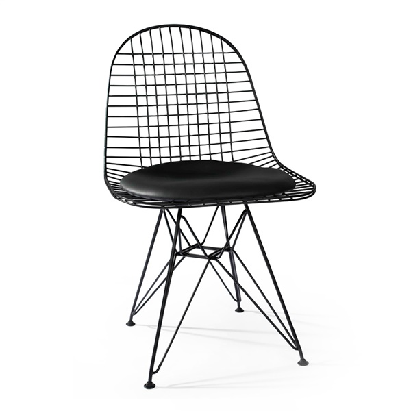 Wire Chair with Cushion (Black Powder Coated Steel / Black Leather)