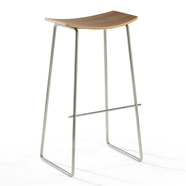 Yvonne Potter Timber Bar Stool (Natural American Walnut Seat / Stainless Steel Frame)