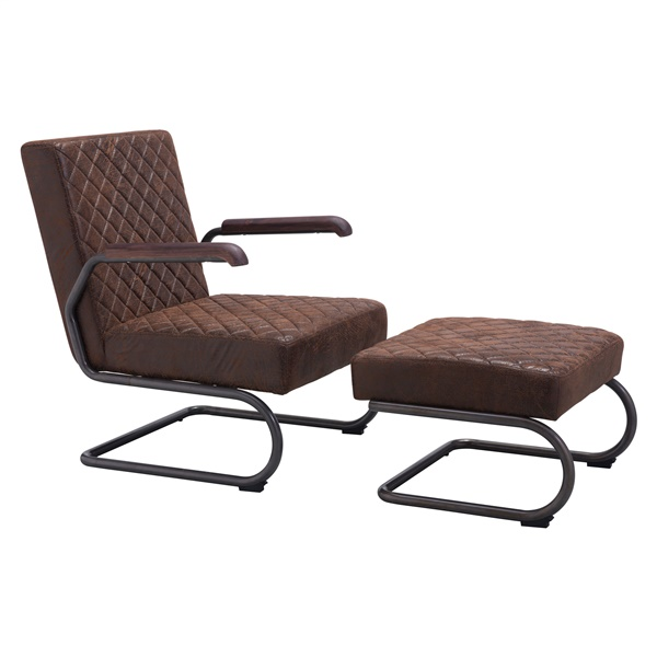 Father Lounge Chair and Ottoman (Vintage Brown)