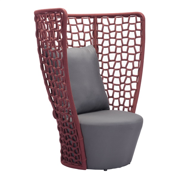 Faye Bay Beach Chair - Cranberry/Gray