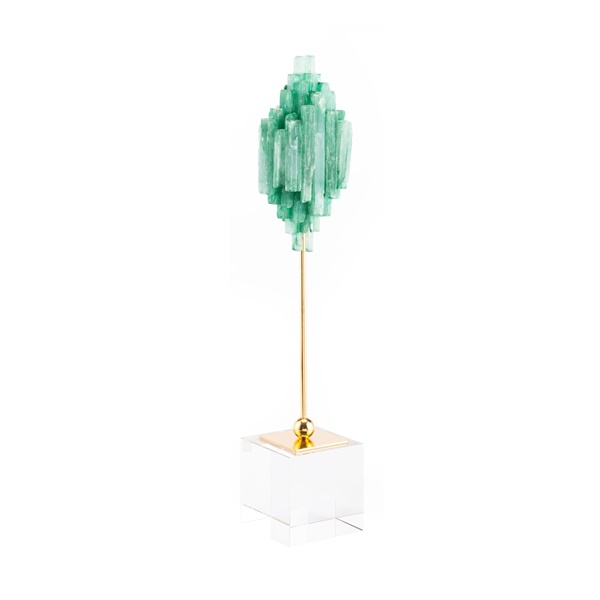 Green Stone Sculpture on Pedestal (Small)