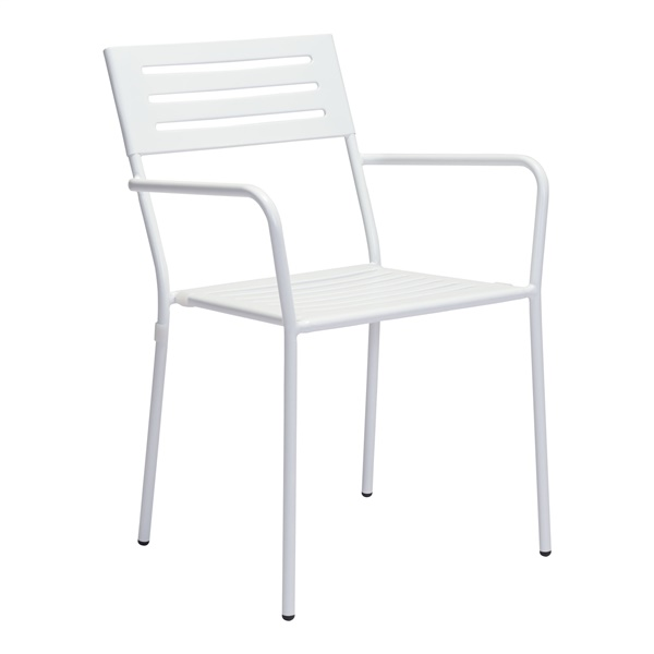 Wald Dining Arm Chair (White) - Shown with 2 Dining Chairs