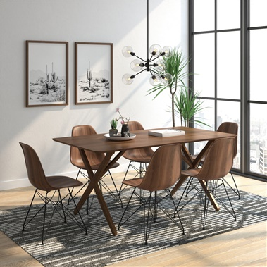 Alexander / Molded Plastic  Printed Walnut Side Chair 7-Piece Dining Set